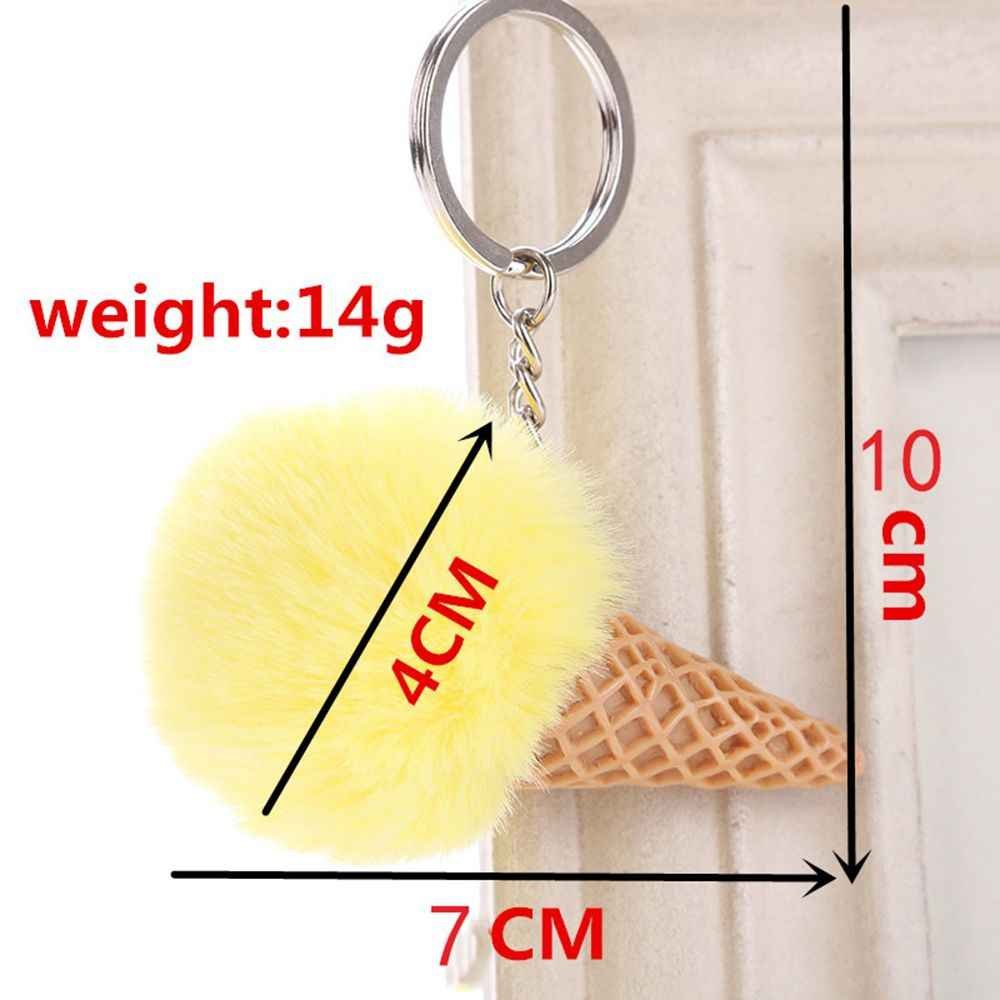 น่ารักฤดูร้อนไอศกรีมพวงกุญแจ Faux Fur Pom Pom พวงกุญแจสำหรับกุญแจผู้หญิงกระเป๋ารถจี้ Keyring เครื่องประดับเด็ก porte Cef