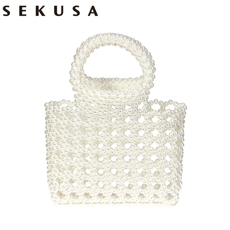 SEKUSA New Bucket Beaded Women Evening Bags With Handle Handbags Pearl Embroidery Holder Purse