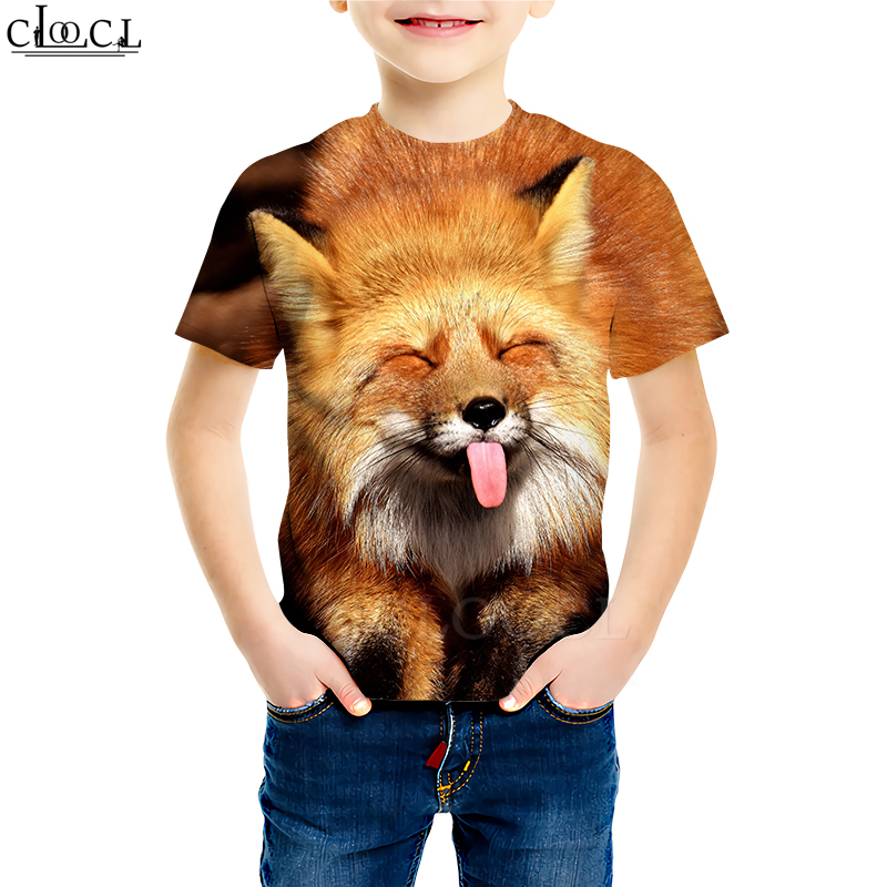 Animal Funny Fox T Shirts Boy Girl 3D Print Classic Cartoon Animal Baby Sweatshirt Funny Youth Casual Children Short Sleeve Tops