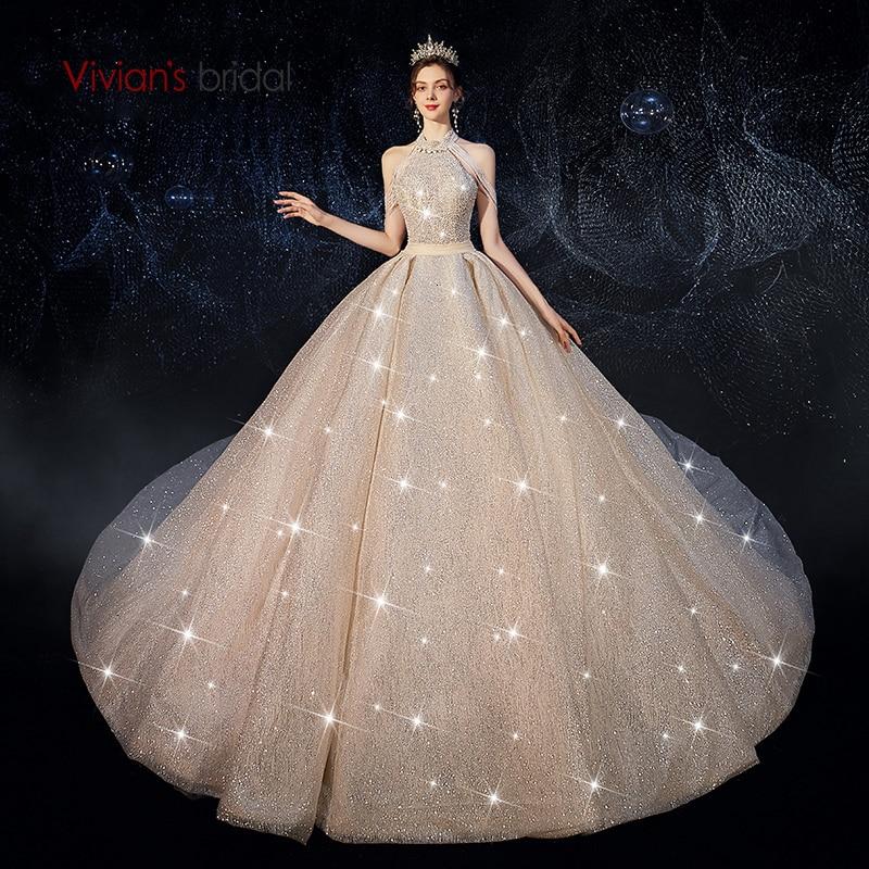 Vivian's Bridal Luxury Shiny Dream Starry Sky Wedding Dress Sexy Halter Backless Beading Tassel Sequin Princess Bridal Ball Gown