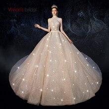 Vivians Bridal Luxury Shiny Dream Starry Sky Wedding Dress Sexy Halter Backless Beading Tassel Sequin Princess Bridal Ball Gown