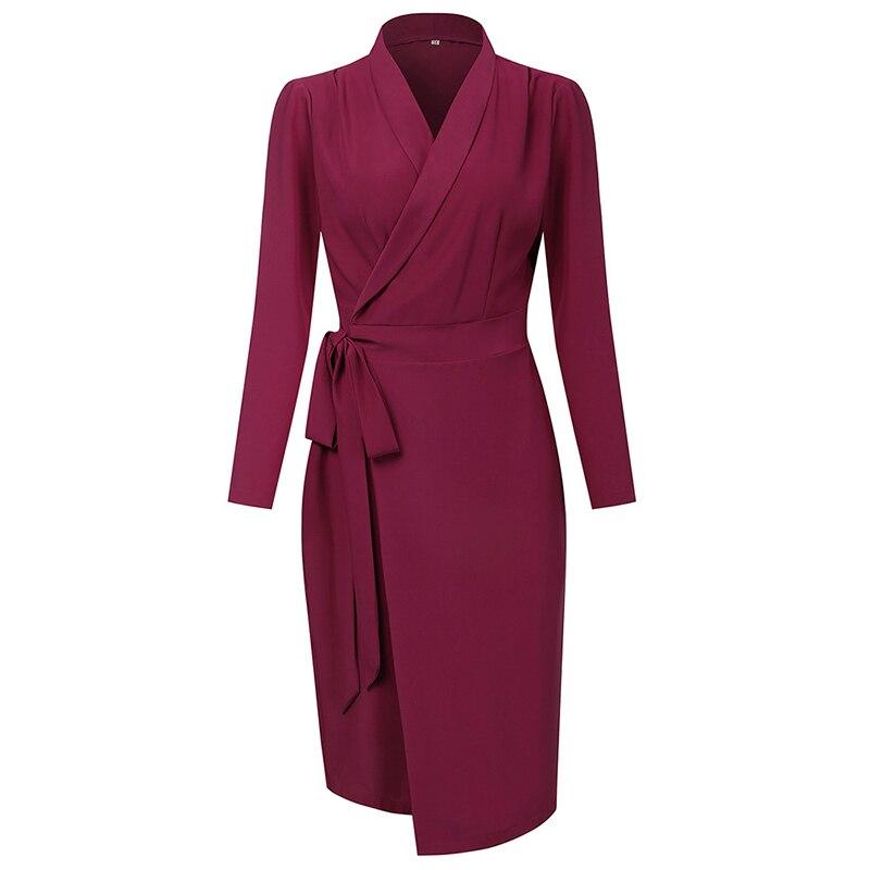 Париж, для девушек, Осеннее французское платье туника с длинным рукавом и разрезом, с глубоким v образным вырезом, элегантное темпераментное платье карандаш для женщин