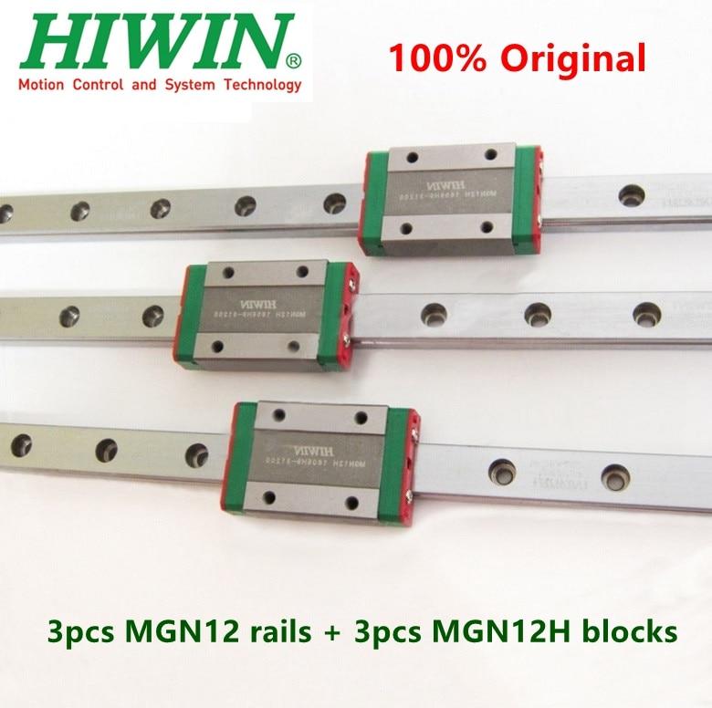 3 sztuk oryginalna szyna Hiwin MGN12 200 250 300 330 350 400 410 450 500 550 mm MGNR12 + 3 sztuk MGN12H blok dla 3d drukarki części cnc