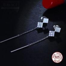 Длинная цепочка Настоящее серебро 925 пробы кристалл квадратное