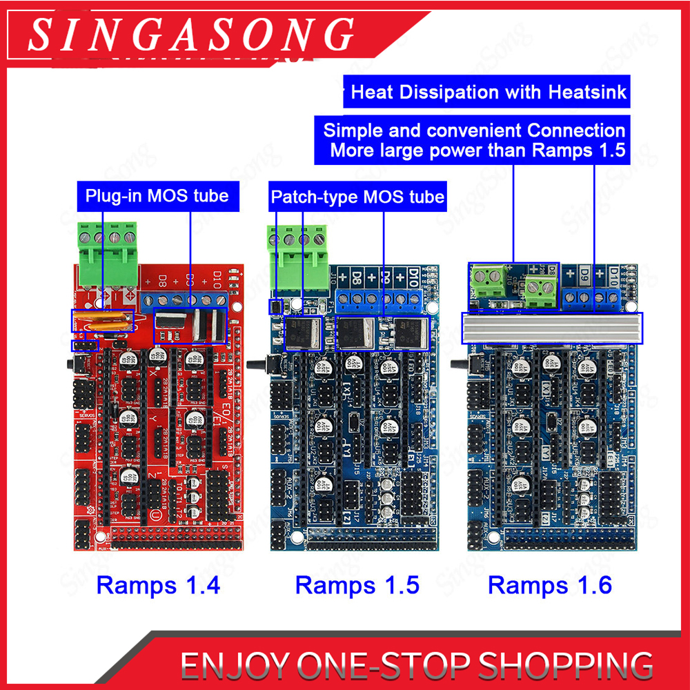 For 3D Printer Parts Ramps 1.6 Board Upgrade Base on Ramps 1.4 1.5 Control Board for Reprap Mendel