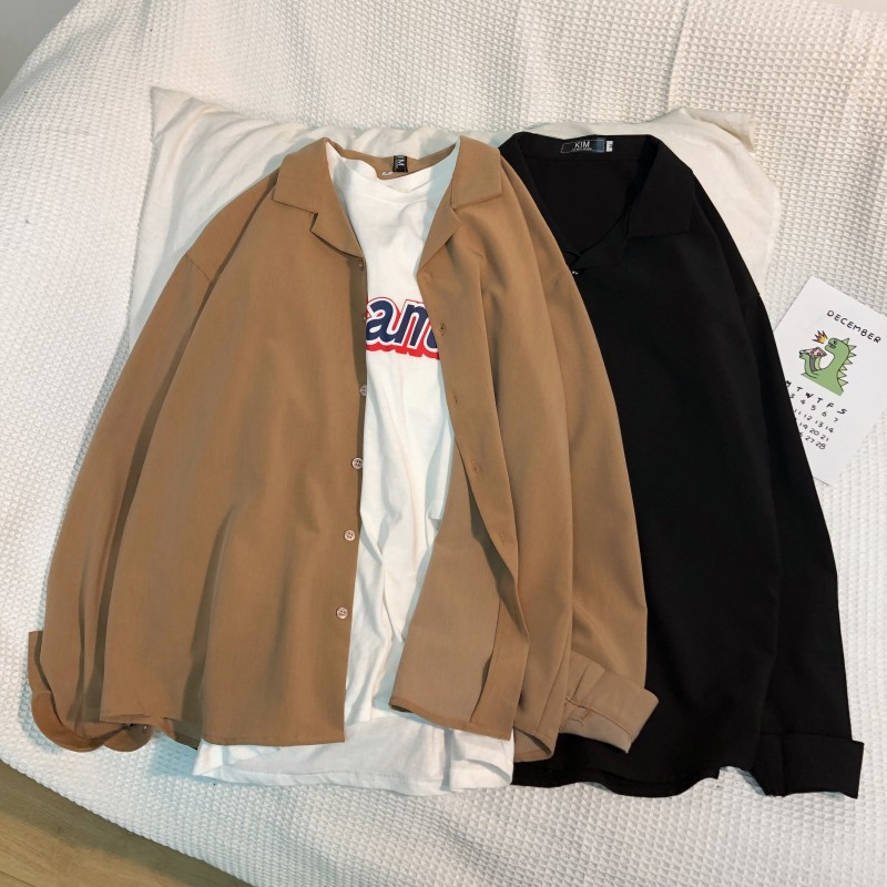 Dress Shirt Men's Fashion Solid Color Business Casual Society Men Shirt Streetwear Wild Loose Long-sleeved Shirts Mens M-2XL
