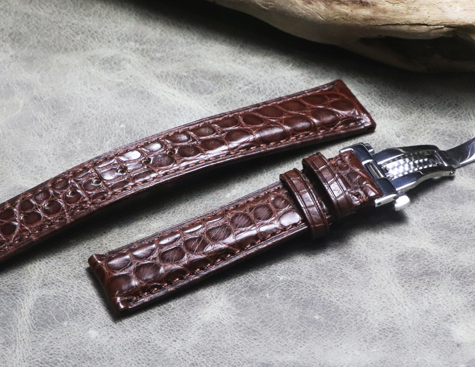Watchband 18 19mm 20mm 22mm 21mm high quality Crocodile Grain soft Genuine Leather bands Black Brown Watch Straps for Omega Mido
