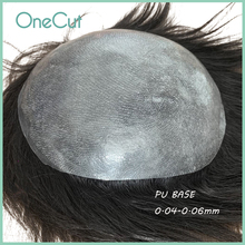 Thin Skin Pu Base Men Toupee V-loop Comfy Male Wigs Invisible Natural Hairline Real Human Remy Hair Replacement System Unit