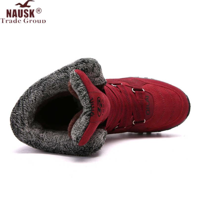 NAUSK yeni kadın botları yüksek kaliteli deri süet kışlık bot ayakkabı kadın sıcak tutmak su geçirmez kar botları Botas mujer