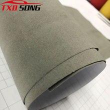 Qualidade premium cinza camurça tecido de veludo para envoltório do carro vinil para o carro que envolve veludo adesivo filme