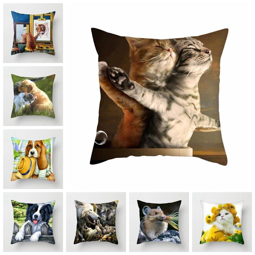 Fuwatacchi Cute Animals Cushion Cover Cat Pillow Cover Dog Throw Pillowcase For Sofa Home Chair Decor Decorative Pillows 45*45cm