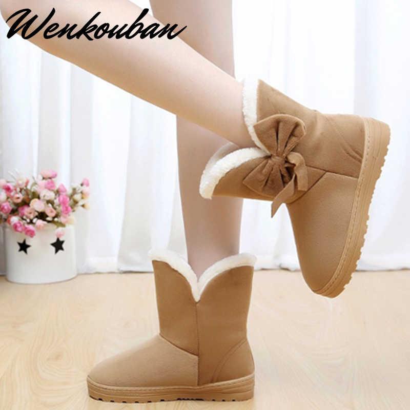 Botas de Invierno para mujer botas de nieve zapatos de invierno para mujer botas de plataforma botas estilo mariposa botas de tobillo calientes botas de mujer