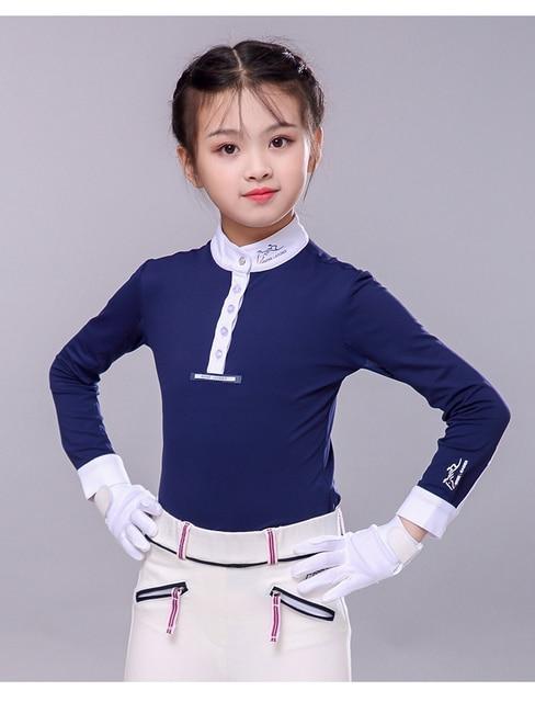 Children's equestrian long sleeve T-shirt, horse riding T-shirt, children's horse riding clothing, sunscreen shirt, white Mock N 2