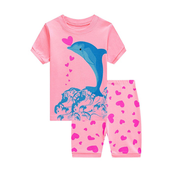 6 PCS Wholesale Children Short Sleeve Pajamas Sets Girls Cartoon Shark Clothes Give To Best Summer Gift for 2-7 Year Olds