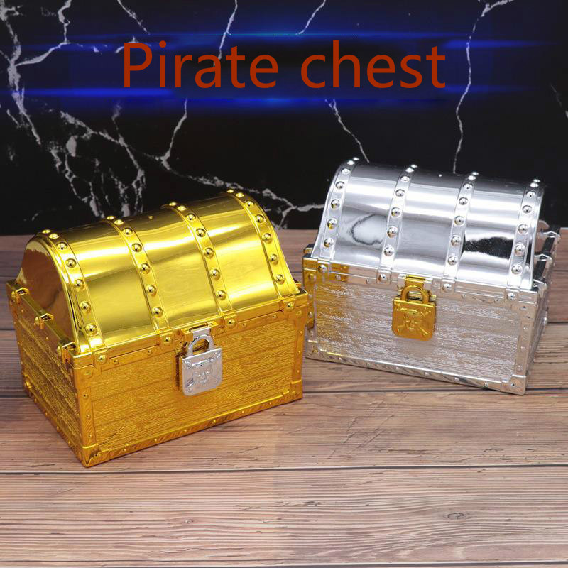 Children Pirate Treasure Box Toys Plastic Plating Box Family Props Cos Play Home Furnishing Halloween Gifts