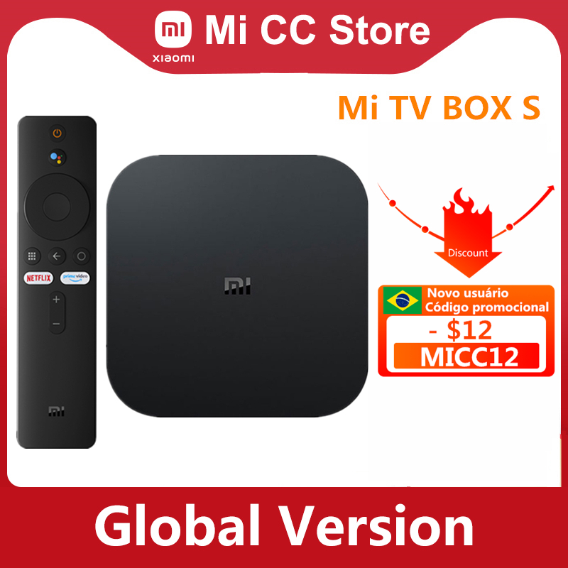 Xiaomi – boîtier Smart TV Mi Box S 4K Ultra HD, Android TV 9.0 HDR, 2 go 8 go WiFi, Google Cast, Netflix, lecteur multimédia intelligent