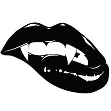 18X11.8CM Fashion Sharp Monster Mouth Kiss Vampire Lips TEETH Vinyl Decal Car Sticker Black/White for Mercedes BENZ w124 w168(China)
