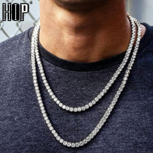 Hip Hop 5MM Mens Necklaces Iced Out 1 Row Rhinestone Choker Bling Crystal Tennis Chain Necklace For Men Jewelry DropShipping недорого