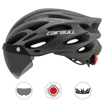 Cycling Helmet With Removable Visor Goggles Bike Taillight Mountain Road MTB Helmets Intergrally-molded  Bicycle Casco rockbros cycling bike bicycle light helmet removable security light riding bike camping intergrally molded helmet bike equipment