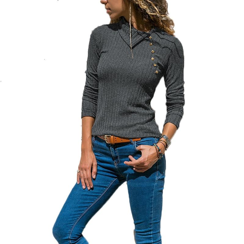 Turn-down Collar Button Long Sleeve Knitted Sweater Women 2019 Autumn Winter Slim Pullover Women Jumper