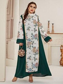 2021 Abaya longue printemps femmes dames robes grande grande taille maille couture mode élégant ceintures Maxi robe 1