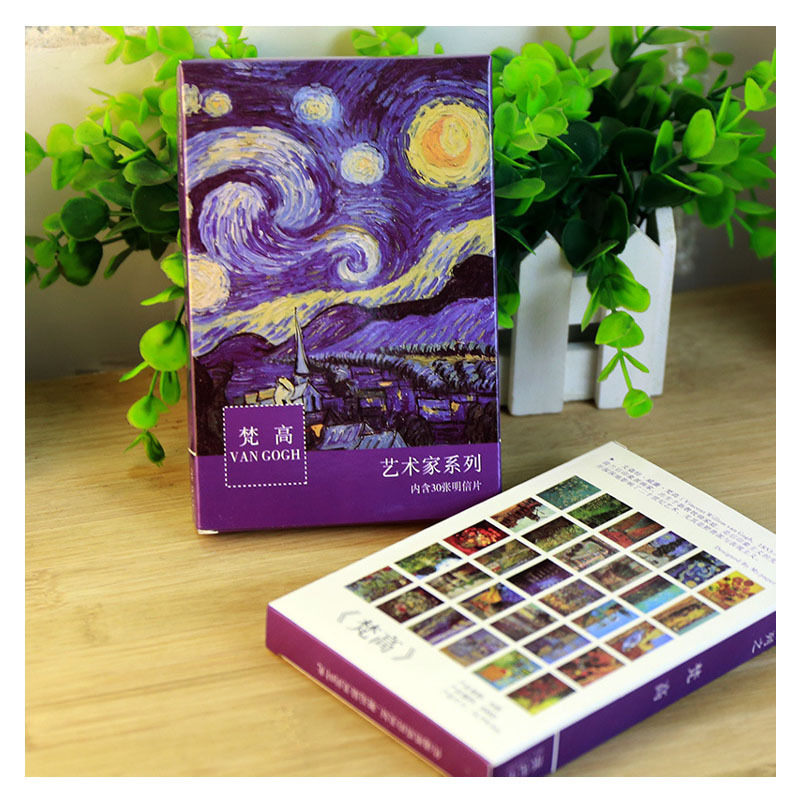 30 Pcs/pack Van Gogh Artist Series Greeting Card Postcard Birthday Gift Card Set Message Card Letter Envelope Gift Card