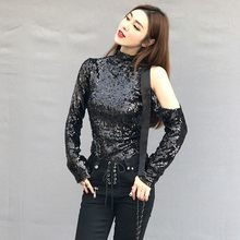 Brand Runway Women Sexy Off Shoulder Long Sleeve T-Shirt Turtleneck Sequined Glitter Tee Tops High Quality Ladies Party T-Shirts(China)