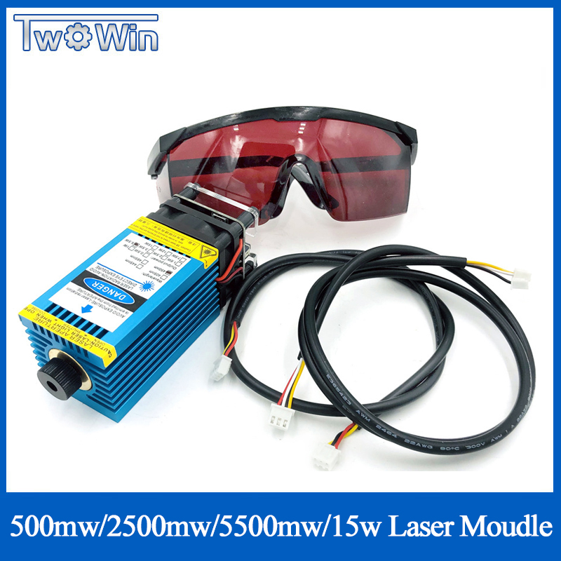 500mw 2500mw 5500mw15000mw 33mm Adjustable Blue Laser Module CNC Laser Engraving PWM/TTL Module Laser Cutter For CNC 3018 Pro