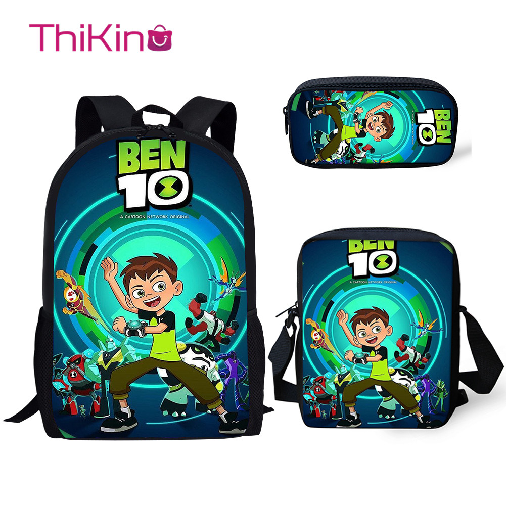 Thikin New School Bags For Kids BEN 10 Cartoon 3Pcs School Backpacks For Girls Kids Book Bags Children School Supplies