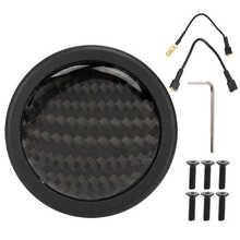 Chifre botão para 6 parafusos para momo volante carro automóvel modificado peças abs + fibra de carbono carro modificado acessório