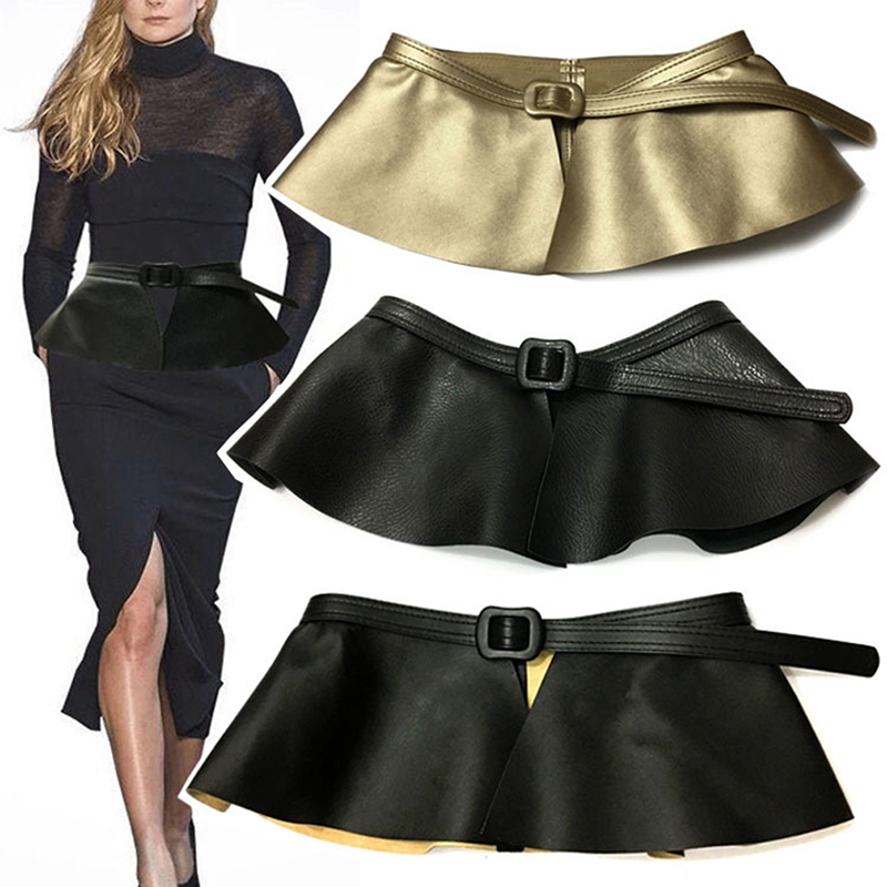 PU Leather Women Cummerbunds Skirt Ruffle Wide Belts Women Decorated Fashion Solid Cummerbunds Femme Clothing Accessories