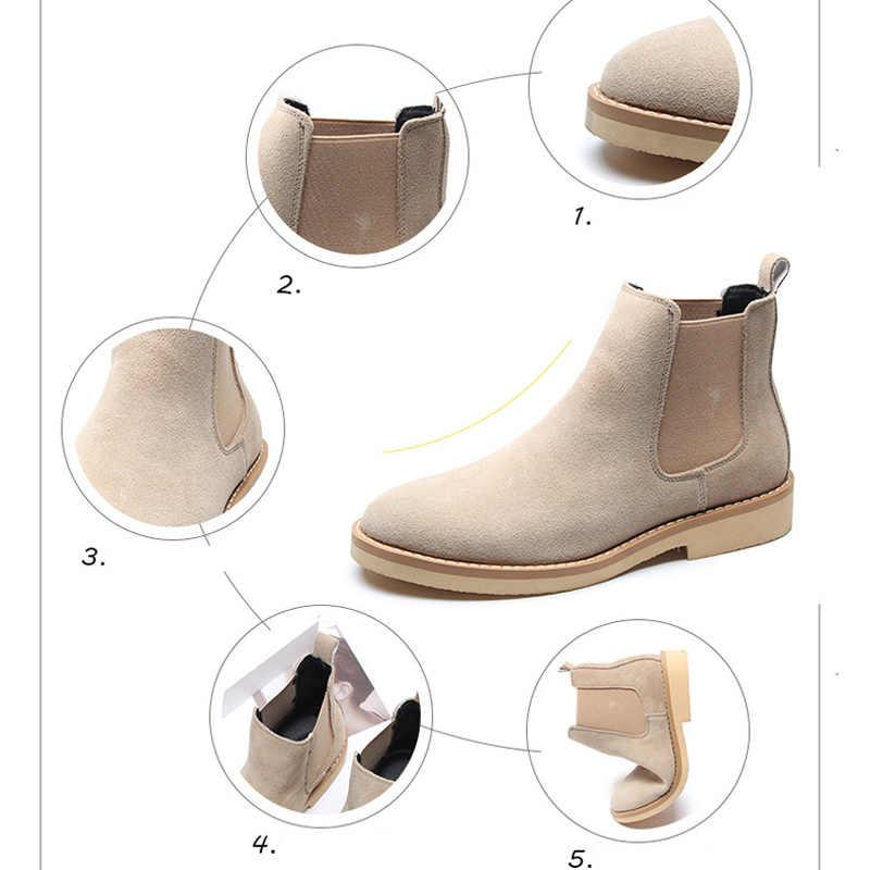 OUDINIAO bahar moda Chelsea çizmeler erkekler üzerinde kayma inek süet kovboy çizmeleri Mens yuvarlak erkek yarım çizmeler