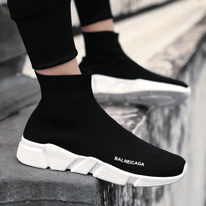 Nieuwe Stijl Canvas Mannen Schoenen Trend Alle Seizoen Mannen 2019 Leisure Trend Schoenen Sokken Fly Geweven Hoge Top board Schoenen Sneaker