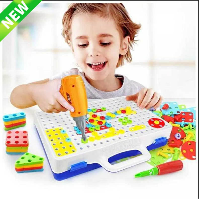 Electric Drill Nut Disassembly Match Tool Educational Toys Assembled Blocks Sets Toys For Boys Design Building Toy Children Gift