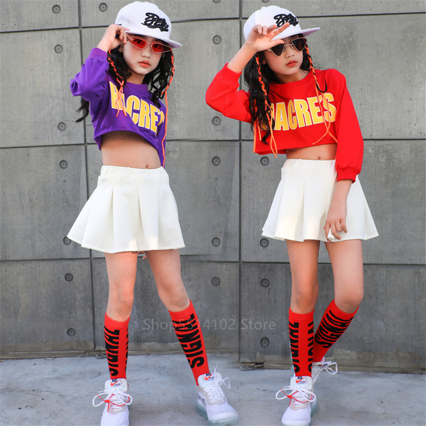 Cheerleader Children School Team Uniforms Boys Girls Hip Hop Jazz Competition Basketball Stage Peroformance Short Top Skirt Sets
