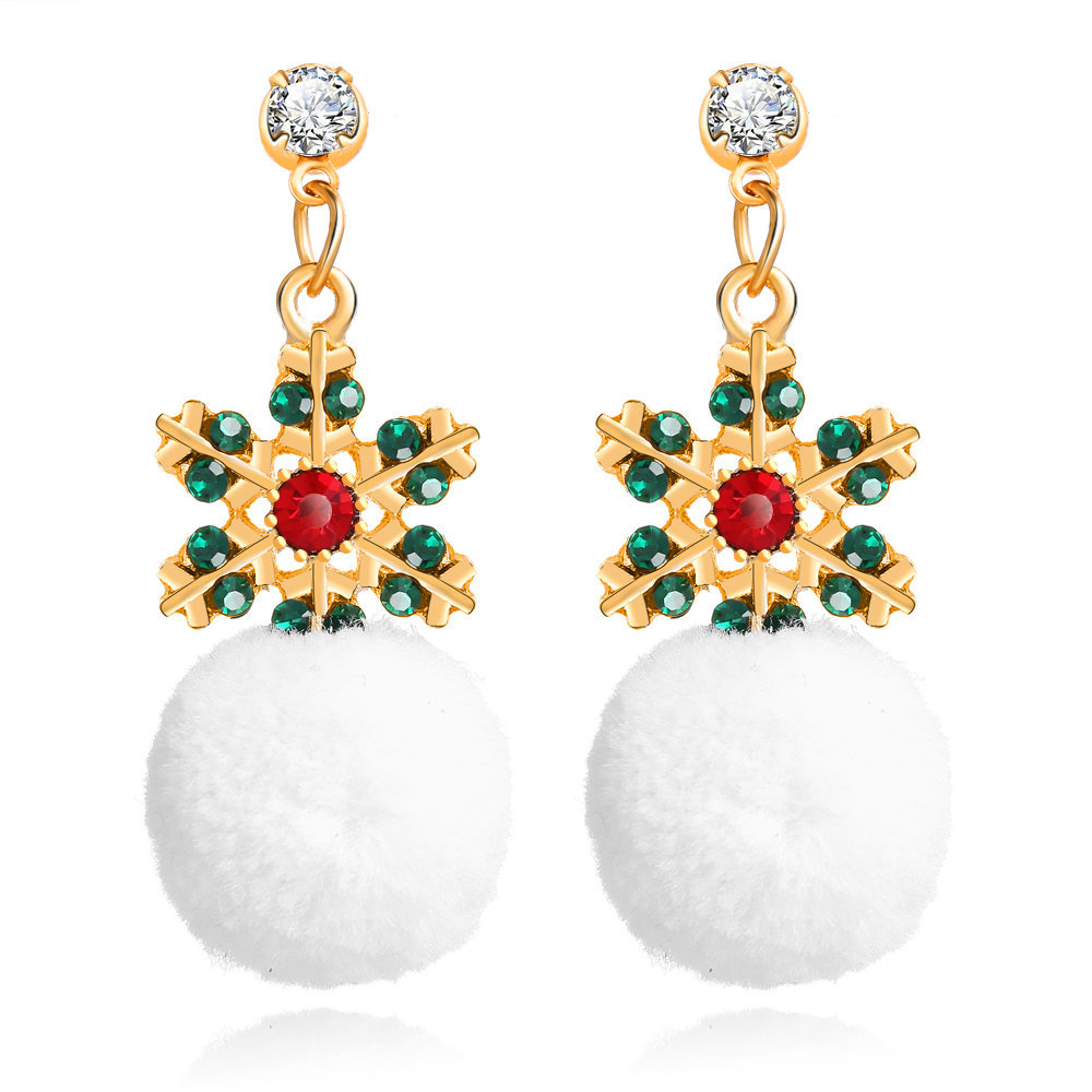 Exquisite Christmas Gifts <font><b>Plush</b></font> <font><b>Snowball</b></font> Eardrop Euro-American Christmas Earrings Creative Mosaic Crystal Snowflake Earrings image