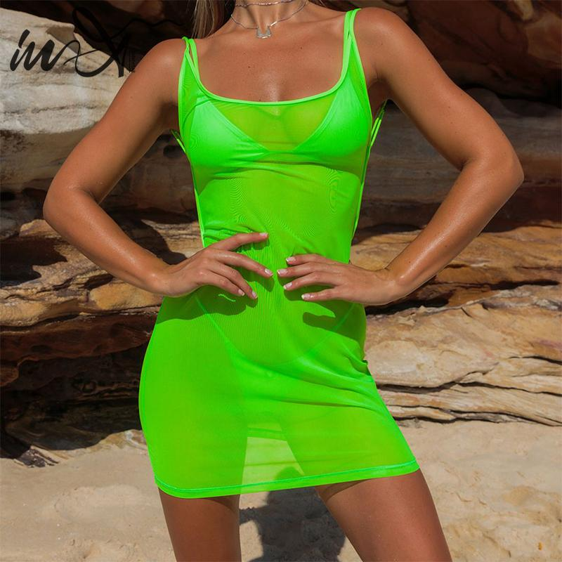 In-X Sexy transparent beach dress women Summer Neon green swimsuit female See through bikini Cover ups Backless short dress
