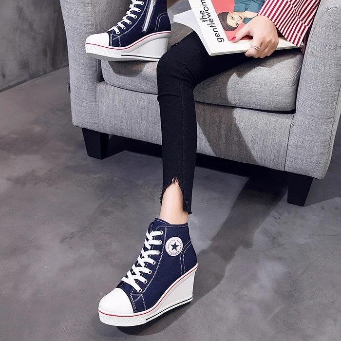 Casuais Senhoras Branco Preto Sapatos Jeans