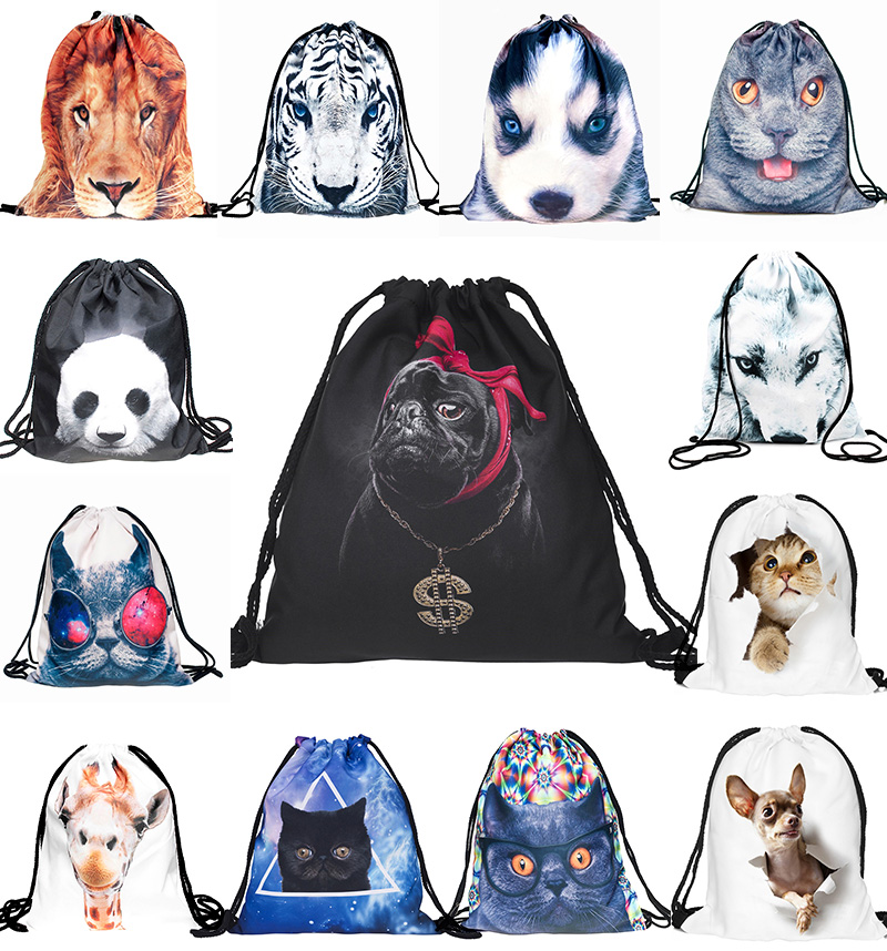 3D Printing Animals Dog Cat Lion Panda Pattern Travel Canvas Drawstring Bag  Draw String Bag Fashion Funny Backpack Schoolbag