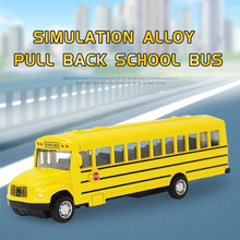 Simulation Alloy Pull Back & Inertia School Bus Car Model Diecast Vehicle Toy Early Education Toy for Boys Kids Gifts