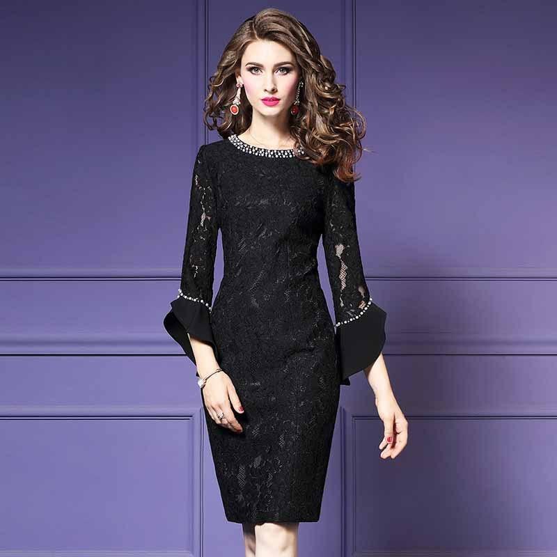 Moda Feminina Elegante Beading Rendas Vestido de Festa Fêmea Do Vintage de Alta Qualidade Designer De Robe Femme Office Party Lápis Vestidos - 6