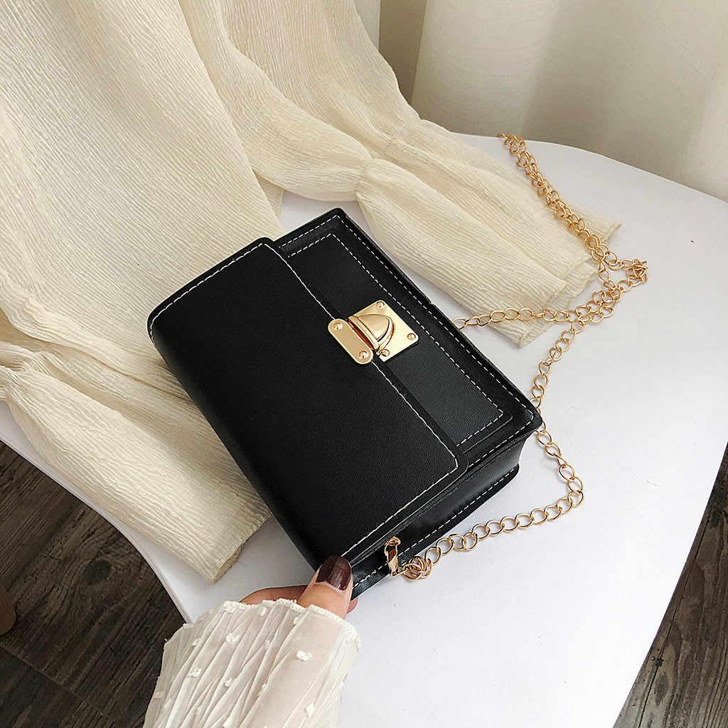 ファッションバッグ 2019 女性のファッションチェーン固体カバーロッククロスボディバッグショルダーバッグバッグ電話バッグ PU レザーコイン袋嚢メインファム