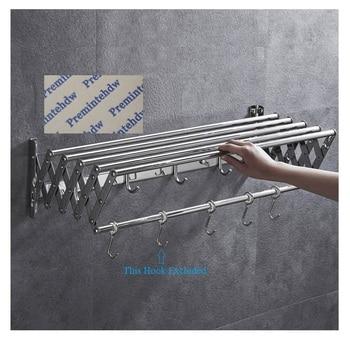W60-100CM 201 304 Rvs Wall Mount Foldble Vouwen Handdoekenrek Schroef Of Gratis Muur Boren Sticker
