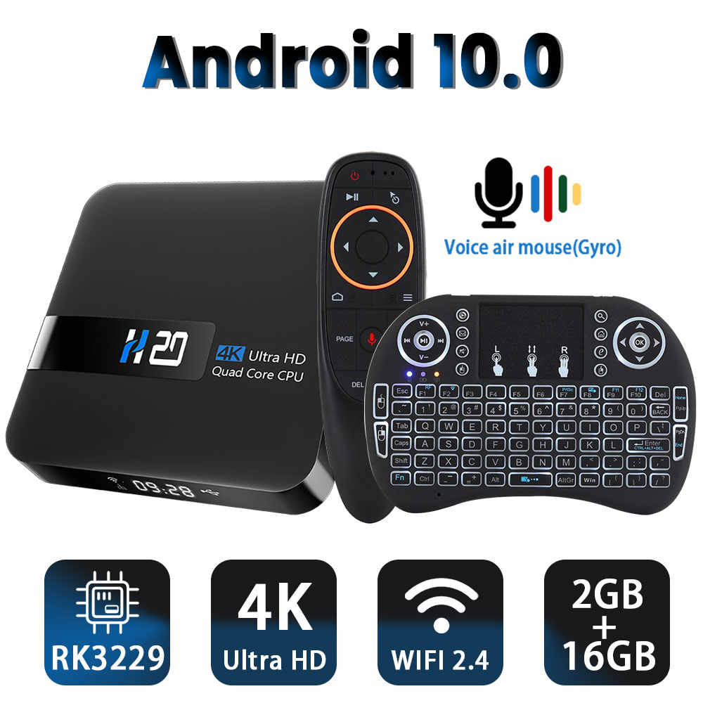 Android 10.0 TV Box RK3229 4K YouTube Google Assistant 2G 16G Set Top Box 3D H.265 2.4G Wifi Media Player TV Receiver Toko Bermain