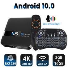 안드로이드 10.0 TV 박스 RK3229 4K 유튜브 구글 어시스턴트 2G 16G 셋톱 박스 3D H.265 2.4G 와이파이 미디어 플레이어 TV 수신기 플레이 스토어