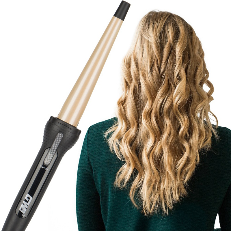 Top Deals GW New Cone Golden Ceramic Coated Plate Professional Cone Curler Electric Curler Magic Curling Stick Hair Stylist Rock