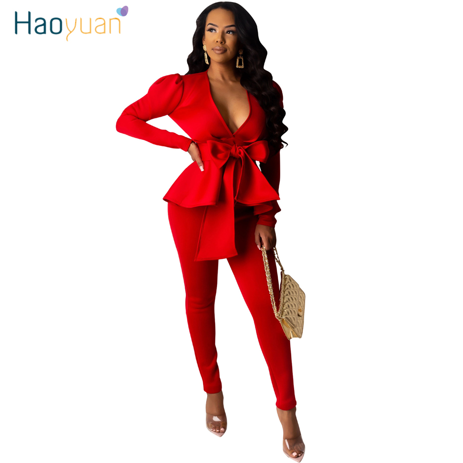HAOYUAN Two Piece Set Women Office Clother Sexy V Neck Tie Bow Blazers Top And Pants Matching Sets 2 Piece Fall Winter Outfits
