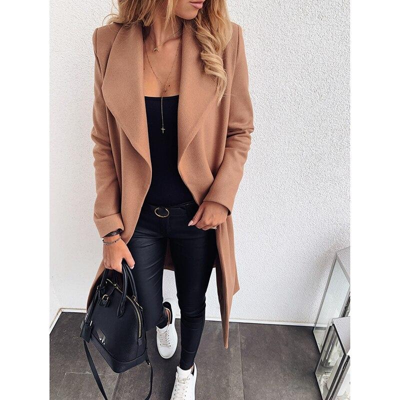 OEAK New Slim Thick Outwear Women Autumn Winter Solid Plus Size S-3XL Streetwear Bandage Long Sleeve Woolen Coat Ladies Casual