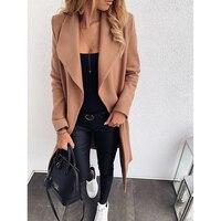 OEAK New Slim Thick Outwear Women Autumn Winter Solid Plus Size S 3XL Streetwear Bandage Long Sleeve Woolen Coat Ladies Casual
