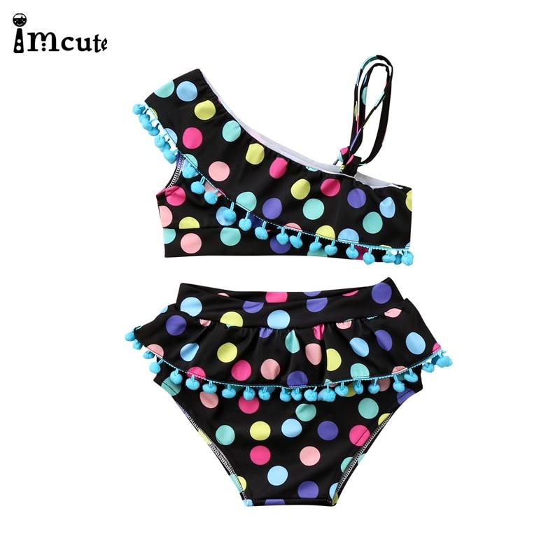 ImCute 2020 Children Brand Clothing Girls Swimming Dot Ruffle Baby Girls Bikinis Sets 2-7 Years Kids One-Shoulder Swimsuit
